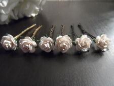 6 X Rose Cheveux Poignées Cheveux Mariée Demoiselle D'Honneur Flowergirl Mariage Fleurs