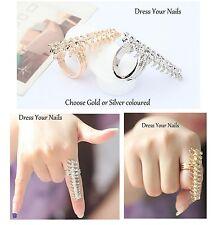 Fish Bone Ring Bony Skeleton Adjustable Finger- Halloween Jewellery Gold/silver