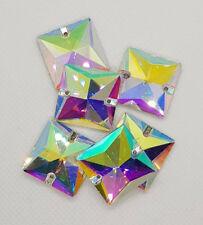 Aufnähsteine Glas Strass zum Aufnähen Quadrat Crystal AB Größe + Menge wählbar
