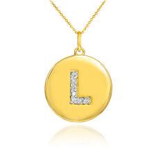 "10k Yellow Gold Letter ""L"" Initial Diamond Disc Charm Pendant Necklace"
