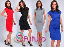 Ladies Classic Ruffle Dress Short Sleeve Boat Neck Wiggle Tunic Sizes 8-14 FA377
