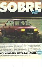 PUBLICITE ADVERTISING  1981    VOLKSWAGEN  JETTA  diésel , LA LIONNE SOBRE