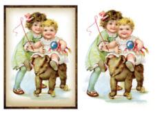 Vintage Image Nursery Victorian Children Toys Transfers Waterslide Decal Kid573