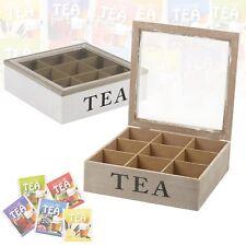 9 scomparti in legno per Tè Scatola A CERNIERA COPERCHIO In Vetro Sacchetto di Tè Scatola Di Immagazzinaggio CASA CUCINA