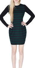 Sugarhill Boutique Maria Dress 8-16 Green & Black Striped Long Sleeve