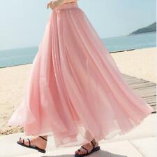 Womens Summer Chiffon Flared Beach Pleated Long Skirt Floor Length Casual  jf00