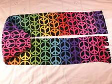 Peace Signs Colorful Rainbow on Black Fleece Scarf