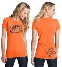 LOVE MOTO TEE SHIRT TOP WOMEN GIRL MX MOTOCROSS DIRT BIKE RACE ORANGE KTM RACING
