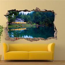 Casa por Lago Bosque Pegatinas de Pared 3D Decoración Habitación Arte Calcomanías murales Oficina VV0