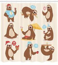 Sloth Pattern Shower Curtain Fabric Decor Set with Hooks 4 Sizes
