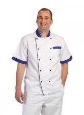RONDON BLUE Kochjacke Jacke Arbeitsjacke kurzarm, weiß mit blaue Druckknöpfe