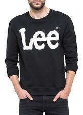 Lee Mens Cotton Crew Neck Print Logo Sweatshirt Black Sweat Top