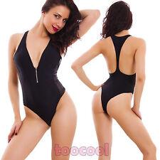 Costume da bagno donna intero nero scollato vogatore moda mare nuovo 4005