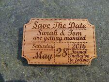 Wedding Save The Dates fridge magnets: Wooden cinema ticket style
