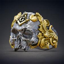 Men's Fashion Silver Gold Signet Skull Fashion Biker ring band R84