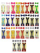 Children Kids Boys & Girls Suspender & Bow tie Matching Colors Set