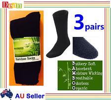 3 Pairs BAMBOO SOCKS Men's Heavy Duty Thick Work Socks Cushion BULK New Black