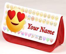 Personalised HEART EYES EMOJI Pencil Case | Make Up Case | School Bag 3 Colours