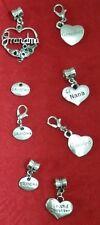 ANTIQUE SILVER - GRANDMA - NANA - GRAND DAUGHTER - GRANDPA CHARM - FAMILY - LOVE