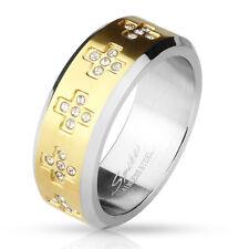 Anillo dedos de la amistad, compromiso, Alianza oro con circonia Cruces
