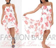 Womens Floral Chiffon Summer Dress Cami Strap Beach Holiday Hi Lo Dip Hem Dress