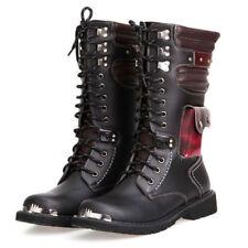 Metallic Combat Men Rock Cowboy Buckle Knee High Miltary Boot Shoes Black
