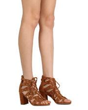 New Women Nature Breeze Nobel-01 Faux Suede Lace Up Grommet Chunky Heel Sandal
