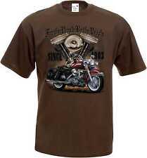 T SHIRT MARRONE VINTAGE HD Biker Chopper & oldschoolmotiv modello for the people BUY