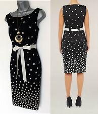 PRECIS Black Ivory Square Print Shift Knee Length Dress UK 6 10  EU 34 38  £99