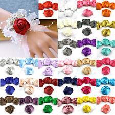 DIY50/100X Satin Ribbon Rose Flower 40mm Craft/Wedding Appliques Clothing Decor