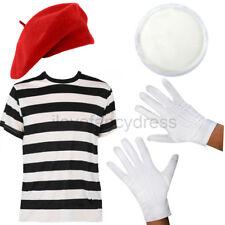 Français mime fancy dress costume t-shirt rouge béret chapeau gants face paint