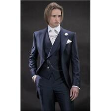 Men 3Pcs Navy Blue Groom Tuxedos Wedding Suit Dinner Party Prom Tail Suit Custom