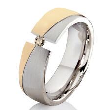 Verlobungsring Ehering mit einem 0,08ct. Diamant Trauring aus Edelstahl ELB5D