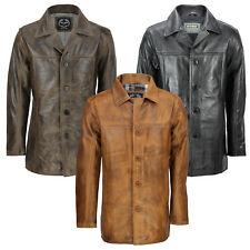 Homme vrai cuir véritable noir marron 4 boutons classique reefer veste manteau