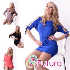 Chic & Sexy Dress Open Sleeve Stretch ZirconsTunic Style Size 8 -12 5004