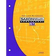 SAXON MATH HOMESCHOOL 8/7 WITH PREALGEBRA TESTS & WORKSHEETS BOOK NEW!