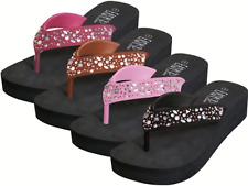 Platform Wedge Flip Flops Rhinestones Bling Black Pink Fuchsia Bronze 6 To 11