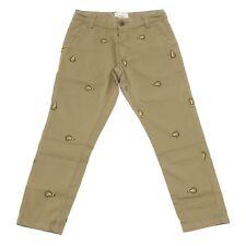 6856S pantalone bimbo FENDI cotone verde militare pant trouser kid