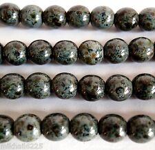50 6mm Czech Glass Round Beads: Jet - Picasso