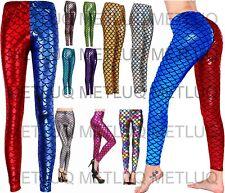 Ladies Fish Legging Red & Blue Mermaid Fit Scale Skinny Metallic Disco Pants 22