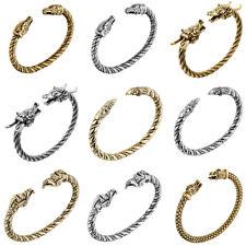 Viking Dragon Wolf Head Punk Bracelet Norse Mythology Beast Bangle Men's Jewelry