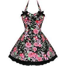 BLACK SKULLS PINK ROSES TATTOO ROCKABILLY GOTH MINI DRESS 8 10 12 14 16