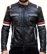 Men's Vintage Motorcycle Cafe Racer Retro Moto Distressed Leather Jacket