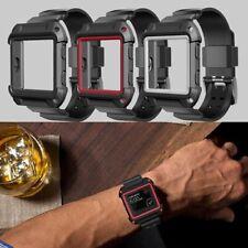 NUOVO robusta custodia protettiva in silicone con cinturino da polso fascia per Fitbit Blaze orologio