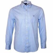 Gant Men's Regular Fit Broadcloth Banker Stripe Shirt, Capri Blue