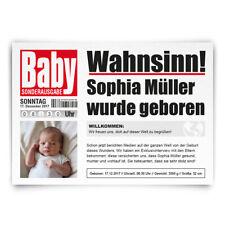 Geburtskarten Geburt Babykarten individuell mit Foto Mädchen Junge als Zeitung