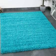 Hochflor Shaggy Teppich Modern Wohnzimmer Teppiche Unifarbe Türkis - TOP PREIS!