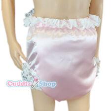 Cuddlz Sissy Blue or Pink Shiny Satin Padded Waddle Pant