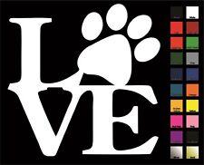 Paw LOVE Vinyl Decal / Sticker - Choose Color & Size - Dog, Puppy, Cat, Kitten