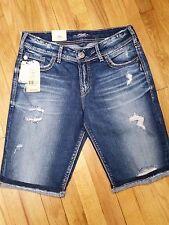Silver Suki Bermuda Shorts Mid Rise Medium Wash Distressed L539305JB388 NWT